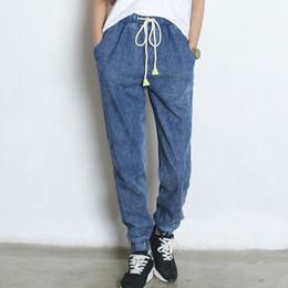 Wholesale Wholesale Plus Sizes Jeans - Wholesale- Spring Women Jeans Harem Pants Elastic Waist Jeans Plus Size Casual Jeans Free Shipping