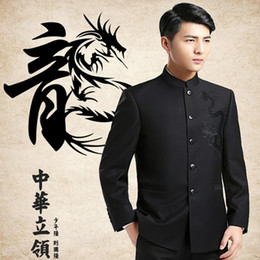 Wholesale Chinese Men Blazer - Wholesale- Dragon Embroidery Mandarin Collar Suit Jackets Men Chinese Style Blazers 2016 New Male Kung Fu Jacket Free Shipping