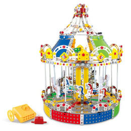 Wholesale Carousel Box - 3D Assembly Metal Model Kits Toy Carousel Merry Go Round With Music Box Building Puzzles 1423pcs Accessories Construction Play Set