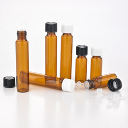 Wholesale wholesale roll perfume - HOT Tea colored bottle 5ml 10ml Refillable Amber ROLL ON fragrance PERFUME GLASS BOTTLES ESSENTIAL OIL Bottle Perfume Bottles b701