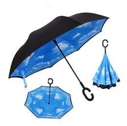 Wholesale Umbrella Protection - Windproof Reverse Folding Double Layer Inverted Chuva Umbrella Self Stand Inside Out Rain Protection C-Hook Hands