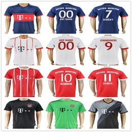 Wholesale Mens Soccer - Mens Customize Munich Soccer Jerseys 11 JAMES 7 RIBERY MARTINEZ 9 LEWANDOWSKI 10 ROBBEN ALABA 25 MULLER 21 LAHM BOATENG VIDAL Football Shirt