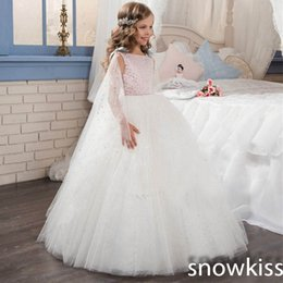Wholesale Shawls For Gowns - 2017 white ivory and pink first communion dress with lace shawl crystals ball gown flower girl dresses for beach wedding