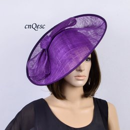 Wholesale Purple Ascot - Purple BIG Sinamay Hat Fascinator saucer fascinator for Kentucky Derby,wedding,party,races,ascot,diameter 39cm