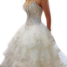 Wholesale Tulle Lace Up Dresses Rhinestone - Cheap Beach 2017 Luxury Wedding Dresses Rhinestone Crystal Beading Sweetheart Tiered Long Train Ball Gown Bridal Wedding Guest Dress Gowns