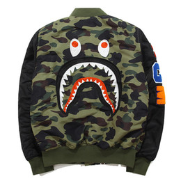 Wholesale Long Thin Buttons - 2017 hoodies for Men WGM Embroidery Shark MA1 Flight Male Baseball Service US Air Force Pilot Jacket suprem