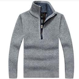 Wholesale Wool Pattern Cardigan - Warm Thick Velvet Cashmere Sweaters Men Winter Pullovers Zipper Mandarin Collar Man Casual Clothes Pattern Knitwear Big Size 3xl