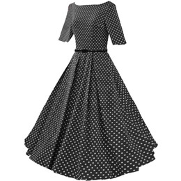 Wholesale Vintage Women Dresses Dots Rockabilly - Free shipping Womens 1950s Rockabilly Vintage Audrey Hepburn Polka Dot Swing Skaters Wedding Guests Party Dresses FYV075