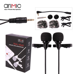 Wholesale Microphone Dslr - Wholesale- AriMic Dual-Head Clip on Lapel Microphone Lavalier Omnidirectional Condenser Recording Mic for iPhone Sumsang DSLR Camera Phones
