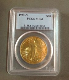 Wholesale Gold Twenty Dollar Double Eagle - HOT SELLING PCGS Real 24K gold plating $20 1927-S MS61 Saint Gaudens Twenty Dollars Or Double Eagle Coin FREE SHIPPING