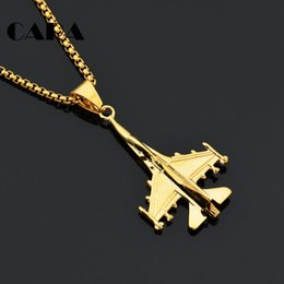 Wholesale Gold Battle - CARA NEW arrival Stainless steel Battle plane pendant charm long chain necklace mens stylish fashion necklace jewelry CAGF0327