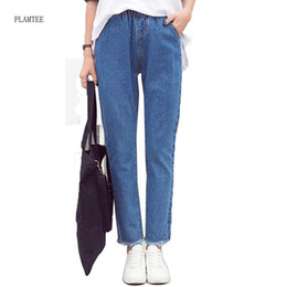 Wholesale Jeans For Women Wholesale - Wholesale- 2017 New Spring Autumn Fringed Pants Feet Solid Color Nine Points Jeans For Women Loose Harem Pants Of Fashion Trousers