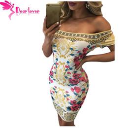 querida amante vestidos Desconto Atacado-Dear lover Autumn 2016 Vintage Sexy Clubwear Verão Floral vibrante impressão fora do ombro Bodycon Heath Dress vestido cortos LC61156