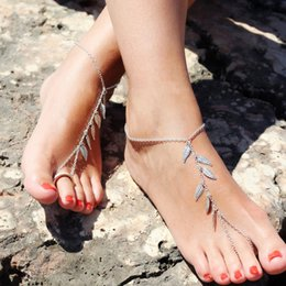 Wholesale Dangle Ankle Bracelets - Elegant Fashion Leaf Anklet Women Ankle Bracelet Beach Dangle Leaf Bracelet Bohemian Barefoot Sandal Anklet Chain Foot Jewelry