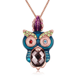 Wholesale Owl Accessories For Girls - Chokers necklaces & pendants statement necklace women brand jewelry for girls accessories cute owl zircon with gift box NK-129