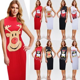 Wholesale Runway Clothing Wholesaler - Women Dress Christmas Elk Santa Claus Bodycon Dresses for Womens Runway Party Clothes Ladies Clothing Fashion Plus Size Vintage Evening New