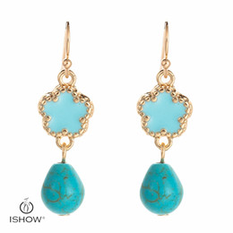 Wholesale Long Stone Drop Earrings - ISHOW Hot stone Earrings Pendientes Etnicos Gold Earrings Boucle d'Oreille Femme Long Drop Earrings Flower Jewelry For Women