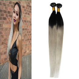Wholesale U Tip Hair Extensions 22 - T1B silver gray hair extensions 100s human hair fusion extensions u tip 100g Straight pre bonded ombre hair extensions keratin