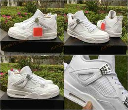 Wholesale Mens Pure White Shoes - 2017 Air Retro 4 IV Pure Money Mens Basketball Shoes White High Quality Men Outdoor Retros 4s Sports Athletics Sneakers Trainers Size 7-13