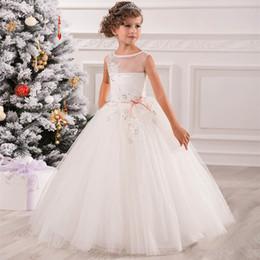 Wholesale Diamond Ball Dresses - Flower Girl Dresses for Weddings Pink Tulle Ball Gown Ankle Length Diamonds Sash Sleeveless O-Neck Lace Up Flower Girl Dresses