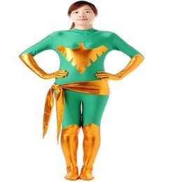 Wholesale Phoenix Bodies - Full body lycra spandex Unisex Metallic Spandex Zentai Phoenix woman