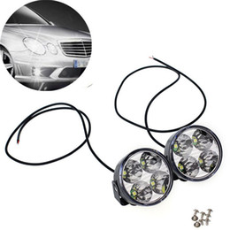 Wholesale Daytime Running Light Drl Round - 2 x 4 LED Round DRL Daytime running driving light cob Auto car fog light led white Lamps Bulb Kit Set