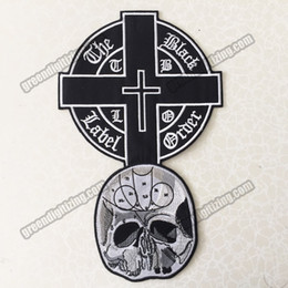 Wholesale Cheap Skull Clothes - Cheap Black Label Christian Skull Embroidered Iron Patch Back of Vest Setting Applique Iron On Patch Clothing Badge Free Shipping
