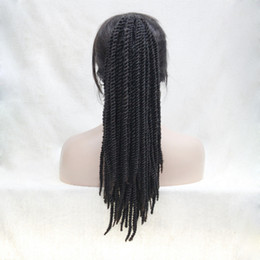 Wholesale Black Hair Weave Hairstyles - fashion Afro Kinky Curly Weave Ponytail Hairstyles Black mix Auburn Brown Clip On extensions In Ponytail