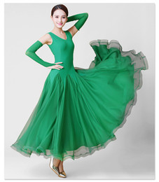 Wholesale Competitions Free - 3Color Green Red New Adult Ballroom Dance Dress Modern Waltz Standard Competition Dance Dress Sexy V-Collar Sleeveless Dress Free Custom