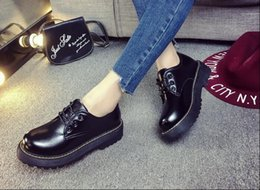 Wholesale Lace Up Oxford Platform Creepers - 2016 British Style Women Oxfords New Spring Winter Lace-Up Flats Round Toe Creepers Casual Ladies Platform Shoes Woman#HDS39 NPX14