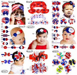 Wholesale Flag Stars - 4th of July us Independence Day Baby star stripe national flag bowknot Headbands 3 Design Girls Lovely Cute American flag Hair Band Headwrap