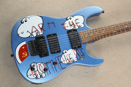 Wholesale Dot Guitar - Custom Tom Morello Arm Homeless Metallic Blue Electric Guitar EMG Pickups Flody Rose Tremolo Bridge White MOP Dot Fingerboard Inlay