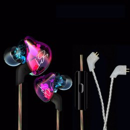 Wholesale Earphone Coloured - KZ-ZST Dazzle Colour Earphone Heavy Bass In-Ear Earbuds Hifi Auriculares Hybrid Earpiece Running Sport Wired Dual-Driver Earbud