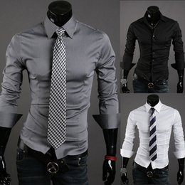 Wholesale Cheap Black Clothing - Cheap 10Colors Solid Men's Dress Shirts Spring Autumn Tops Slim Long Sleeve Single-breasted Fashion Clothes Men Leisure Shirts Free Shipping