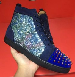 Wholesale Brand Comfort Shoes - Sneakers Luxury Designer High Top Skate Sneakers Mens Womens Casual Shoes Brand New Comfort Snakeskin Red Bottom Wholesale Price size 35-46