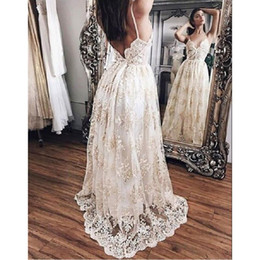 Wholesale Girl Dress Modest - 2017 Backless Lace Prom Dresses Spaghetti Straps Champagne A-line Long Modest Sexy Floor Length Evening Party Gowns For Girls