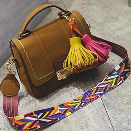 Wholesale Black Leather Sling - suede bag women leather handbags famous designer tassel knit bag color shoulder strap bags fashion designer sling bag winter sac