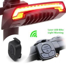 Wholesale Cycling Rear Rechargeable Light - X5 Smart Rear Bicycle Light Bike Lamp Laser LED USB Rechargeable Wireless Remote Turning Control Cycling Bycicle led Light