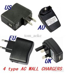 Wholesale Uk Ac Plug Type - 110-240V USB AC Wall Charger Adaptor for e-cigarette MP3 MP4 cell phone...etc, and have US EU AU UK Plug type can be choose!!