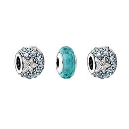 Wholesale Murano Starfish - Wholesale- Oceanic Starfish Beads Fits DIY Bracelets Women Murano Glass Beads 2016 Summer Jewelry Sterling Silver Beads For Jewelry Making