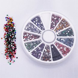 Wholesale Nail Art Sticker Gem - Wholesale- 2.0mm 12 Colors Glitter Tips Rhinestones Gems Flat Gemstones Nail Art Stickers Beauty DIY Decorations Wheel Chic Design 5GK7