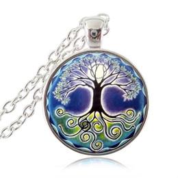Wholesale Wholesale Spiritual Jewelry - Mandala Necklace Full Moon Tree of Life Pendant Om Jewelry Woodland Women Statement Chain Necklace Spiritual Jewelery
