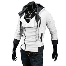 Wholesale Assassins Creed White Jacket - Wholesale- 2016 New Autumn & Winter Oblique Zipper Casual Slim Long Sleeve Hiphop Assassin Creed Hoodies Sweatshirt Outerwear Jackets