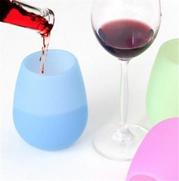 Wholesale Glass Art Sale - Hot Sale Silicone Wine Glasses 350ml Unbreakable Party Camping Picnic Yachting Travel Wine Cups Rubber Beer Mug Outdoor