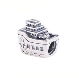 Wholesale craft charms for bracelets - 2017 New Antique 925 Sterling Silver Jewelry Cruise Ship Charm Beads For Women DIY Craft Making Fits European Jewelry Diy Bracelet HB504