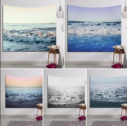 Wholesale Decorative Hang Wall - 130*150cm Sea Waves Tapestry Decorative Polyester Wall Hanging Decor Bedspread Cover Sunset Printed Mandala Tapestry KKA3464