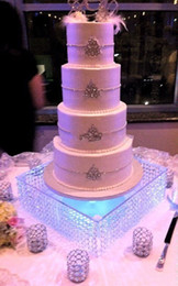 """Wholesale Glass Table Decorations - wedding centerpiece including the LED ,Table Centerpiece wedding glass crystal cake stand 16"""" diameter 8""""tall 40cmx20cm tall"""