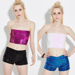 Wholesale Dj Cloths - Women's Sequin morality Wrapped chest Chest cloth DJ Jazz Hip Hop Dance Clothes Female Sexy Sequined performance csotumes