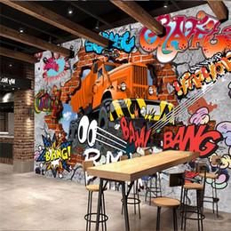 papier peint uni solide Promotion Gros-3D stéréo papier peint Rétro nostalgie Continental murale papier peint salon TV toile de fond murale 3D brique voiture graffiti papier peint