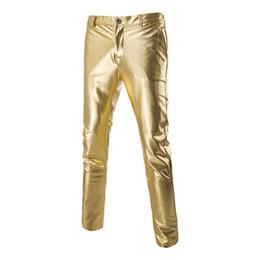 Wholesale Men Shiny Blazer - Wholesale- Fashion Blazer Pants Men Shiny Bronzing Slim Fitness Casual Trousers 2016 New Solid Costume Long Black Golden Formal Pants Male